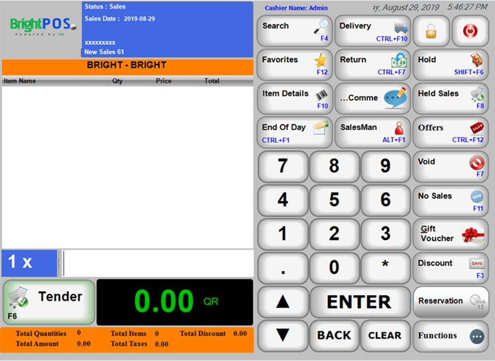 point of sale software user interface